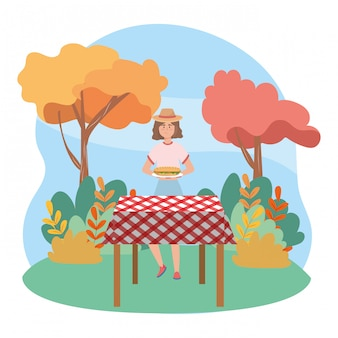 Woman cartoon having picnic