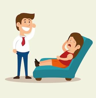 Woman cartoon mental counseling therapist