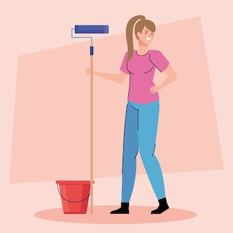 Woman cartoon painting with roll and bucket design of remodeling construction working and repairing