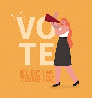 Woman cartoon with megaphone design, vote elections day and government theme.