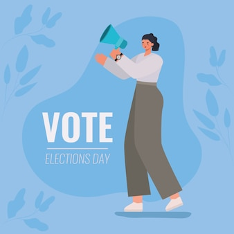 Woman cartoon with megaphone and leaves design, vote elections day and government theme.