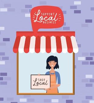 Мультфильм женщина с магазином местный плакат в магазине дизайн розничной покупки и темы рынка