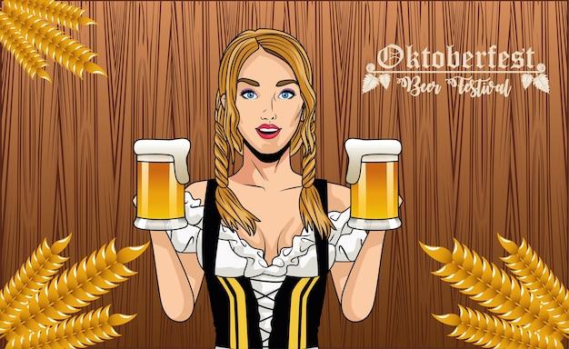 Женский мультфильм с традиционной тканью и дизайном пивных бокалов, фестиваль октоберфест в германии и тема празднования