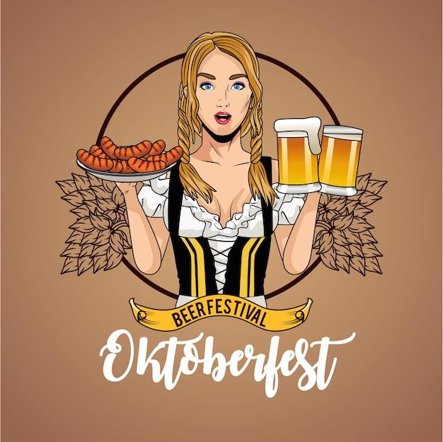 Женский мультфильм с традиционными тканевыми пивными бокалами и дизайном колбас, фестиваль октоберфест в германии и тема празднования