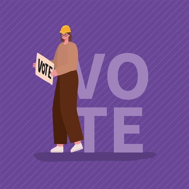 Мультфильм женщина с плакатом голосования и дизайном шлема, день выборов голосования