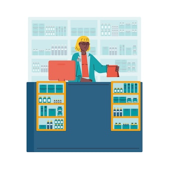 Woman cashier behind counter with cash register cartoon illustration.