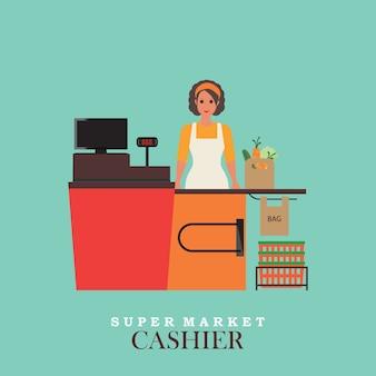 Woman cashier in supermarket.