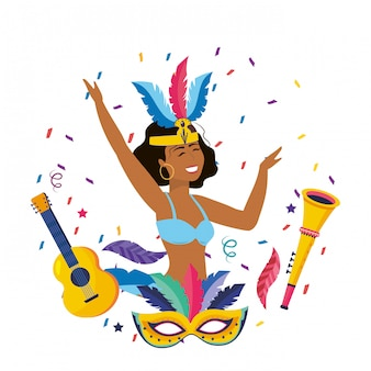 Woman celebrating brazil carnival vector illustration