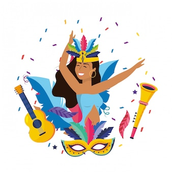 Woman celebrating brazil carnival vector illustration