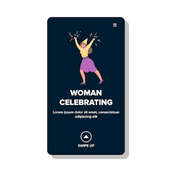 Woman celebrating new year or birthday vector. young woman celebrating christmas or holiday with festival confetti and make noise. character on festive event web flat cartoon illustration
