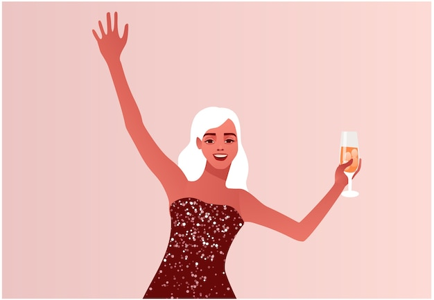 새해 또는 크리스마스를 축하하는 여자 반짝 이는 파티 드레스 소녀 현대 평면 스타일의 다채로운 그림
