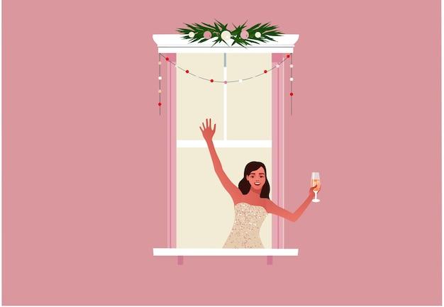 새 해 또는 크리스마스 잠금 또는 검역 생활을 축하하는 여자 반짝 이는 파티 드레스에 여자와 창 프레임 현대 평면 스타일의 다채로운 그림