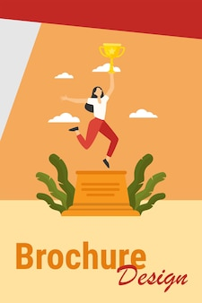 Woman celebrating victory. girl holding gold cup on winner podium flat vector illustration. winning, success, achievement concept