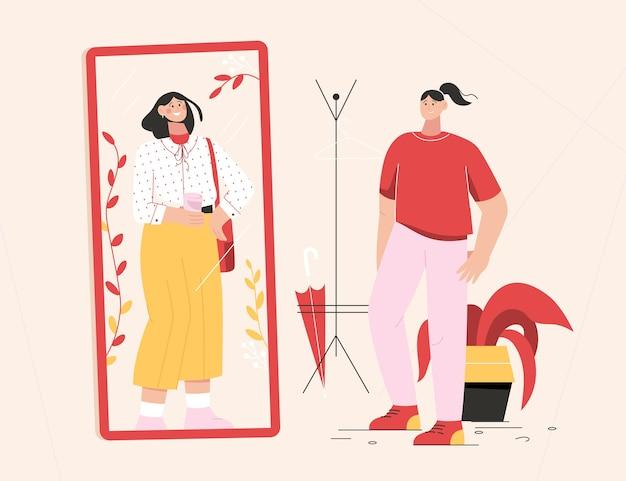 여자는 거울 앞에 서있는 옷을 변경