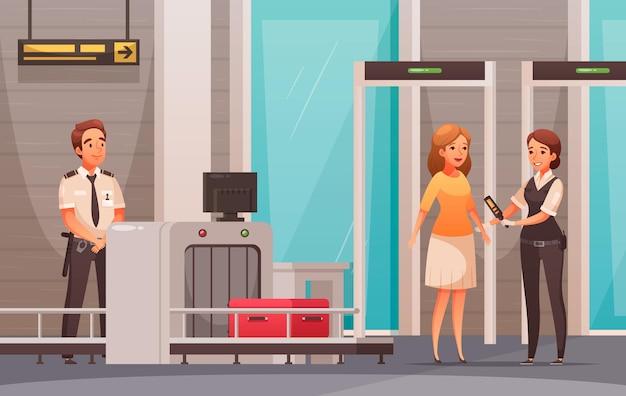 여자 캐릭터와 공항에서 그녀의 수하물 확인