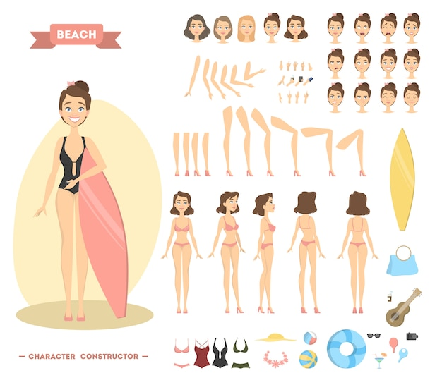 Woman character on beach. poses and emotions with stuff.