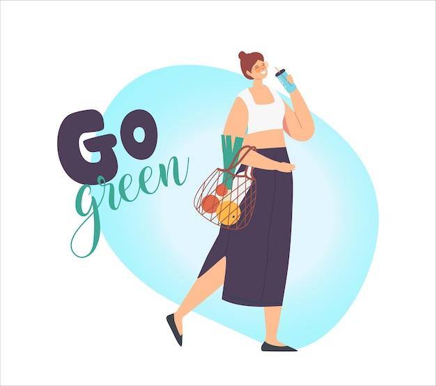 女性キャラクターがストリングエコフレンドリーバッグで製品を運び、再利用可能なカップのコーヒーを飲む