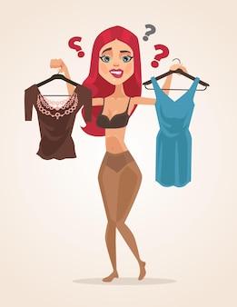 Женский персонаж выбирает, что надеть на плоской иллюстрации шаржа