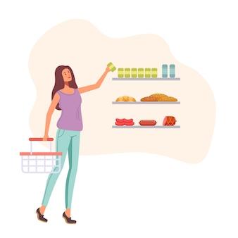 슈퍼마켓에서 음식을 선택하는 여자 캐릭터. 삽화