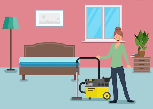 집 평면에서 침실을 청소하는 여자 캐릭터.