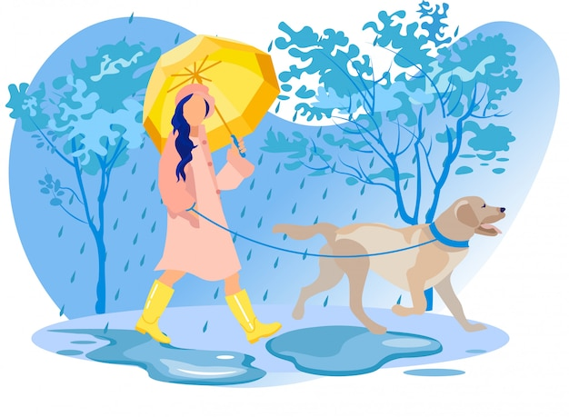 Woman character in cloak and boots walk with dog