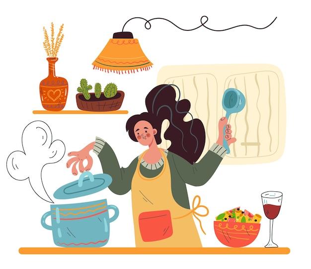 부엌 개념에 머물고 있는 여자 캐릭터 요리 수프