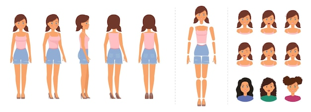 Woman character creation set girl wearing top and shorts for animation with emotions template