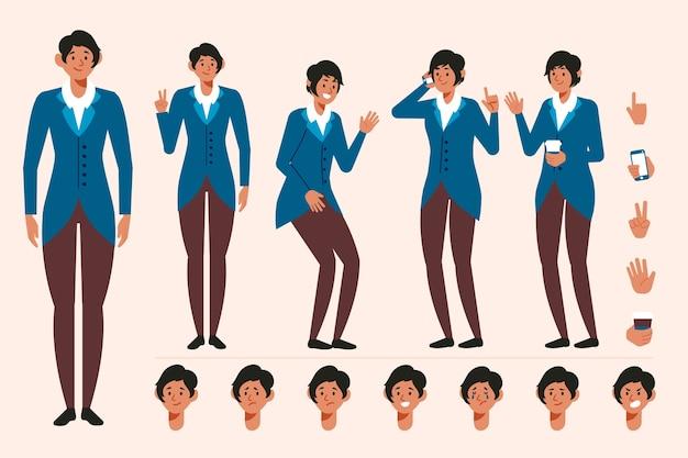 さまざまなポーズの女性キャラクター作成セット