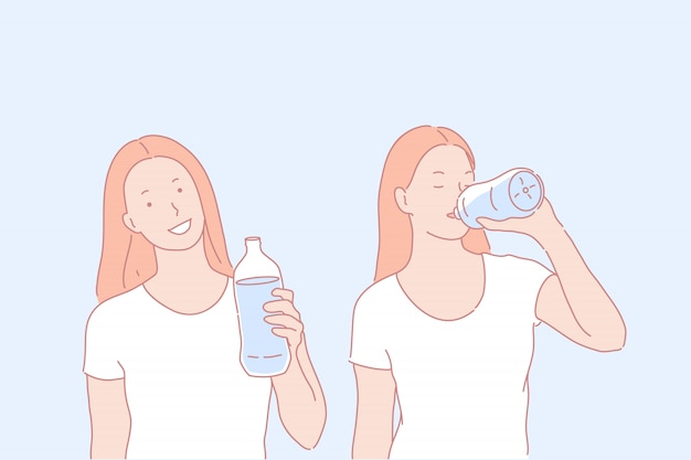 Woman character drinking water illustration