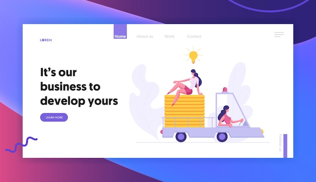 Woman character driving truck car concept landing page set