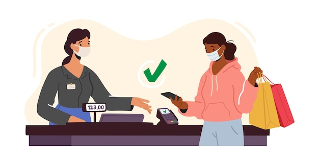 Woman character in facial mask use pos terminal for cashless paying for purchase in supermarket
