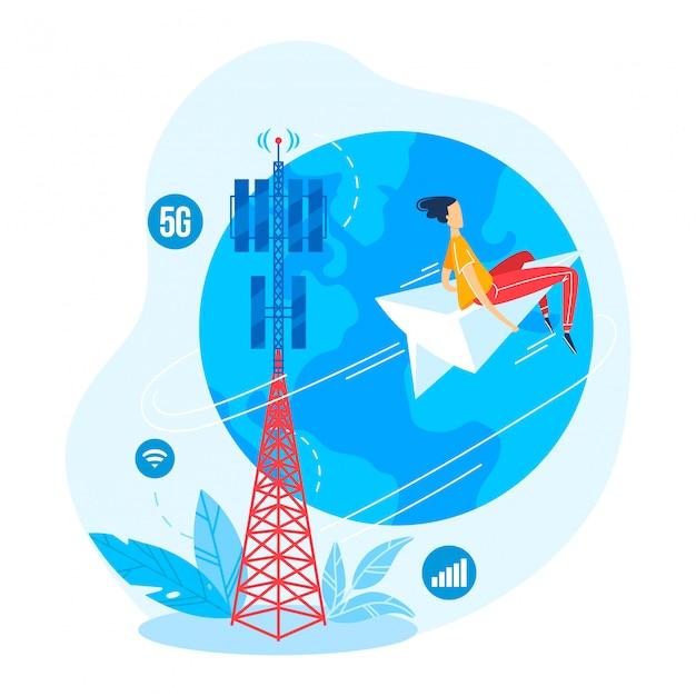 여자 캐릭터 비행 종이 비행기, 흰색, 만화 일러스트 레이 션에 고립 된 현대 5g 통신 타워. 온라인 인터넷 연락 시설.