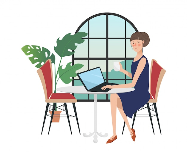Woman character in freelancer working with a laptop near the window.