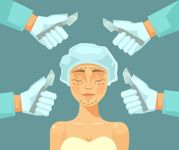 성형 수술을하는 여자 캐릭터