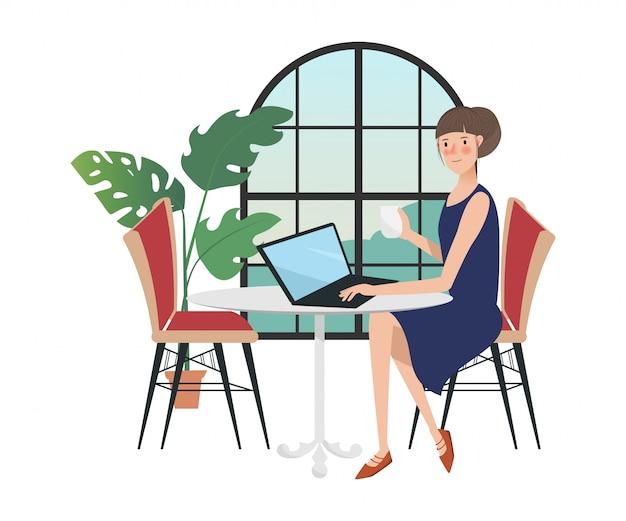 Женщина персонаж в фрилансере работает с ноутбуком у окна.