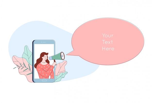 Женщина персонаж в смартфон, крича в громкоговоритель. милый мультфильм реклама продвижение концепции. объявление в мегафон.