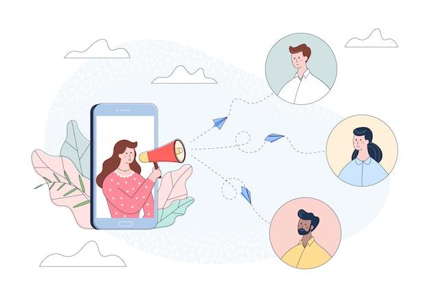 Женщина персонаж в смартфон, крича в громкоговоритель. влияние рекламной концепции продвижения.