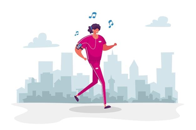 スポーツウェアの女性キャラクターと公園で走っているヘッドセット音楽プレーヤーを聞く