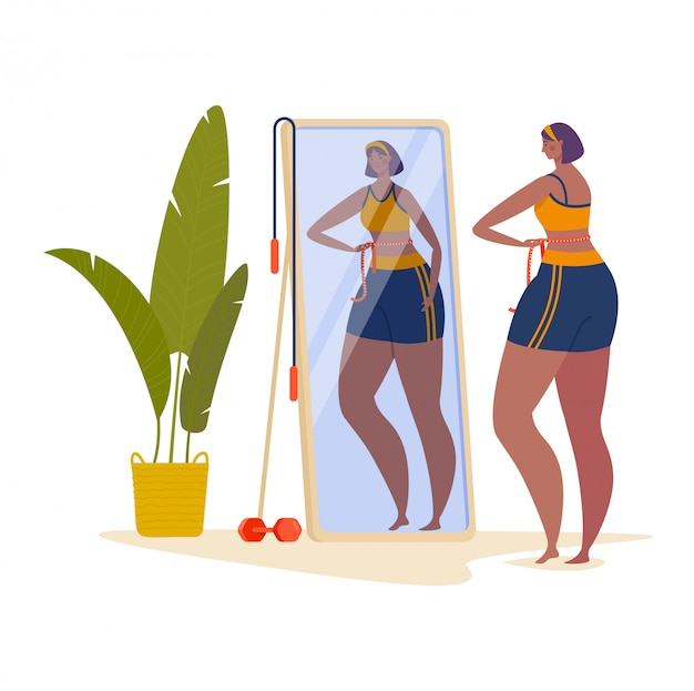 Woman character measure waist, female look mirror and loses weight