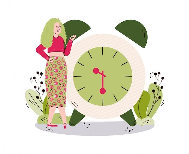 Женщина персонаж на фоне будильника, эскиз иллюстрации