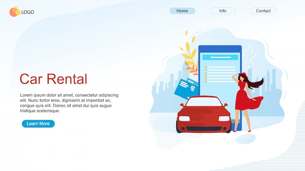 Woman character ordering vehicle landing page