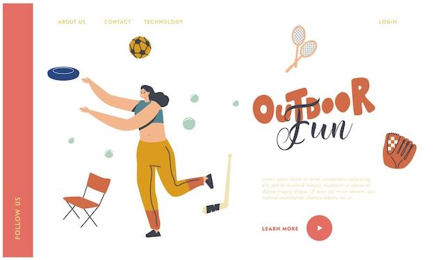 女性キャラクターアウトドアアクティビティランディングページテンプレート。パークスローフライングプレートで遊ぶ幸せな女性。夏休みと余暇