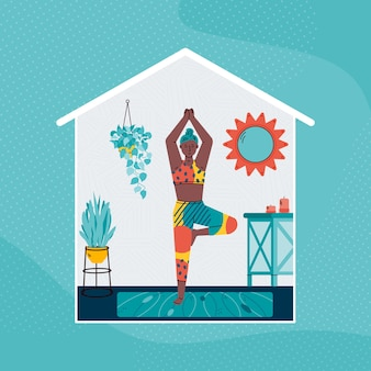 Woman character practicing yoga exercises at home