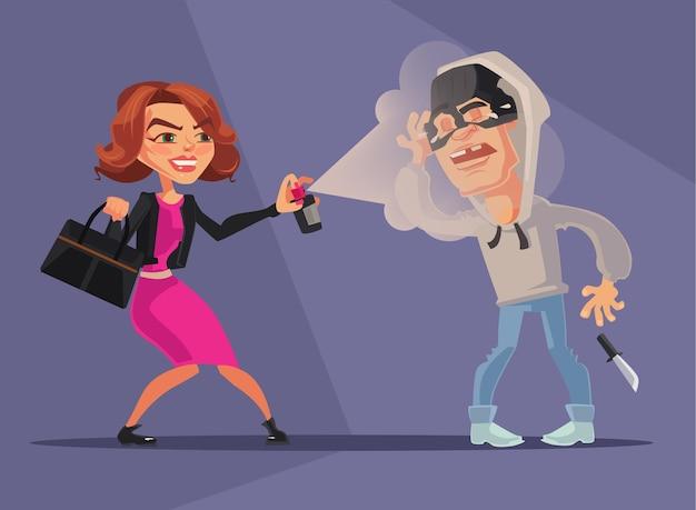 Женщина-персонаж защитила себя от грабителей плоской карикатурной иллюстрации