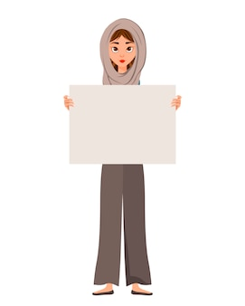 Woman character in a scarf with blank placard