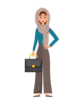 Woman character in a scarf with a briefcase on white background. illustration.