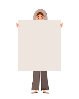 Woman character in a scarf with clear sheet on white background.