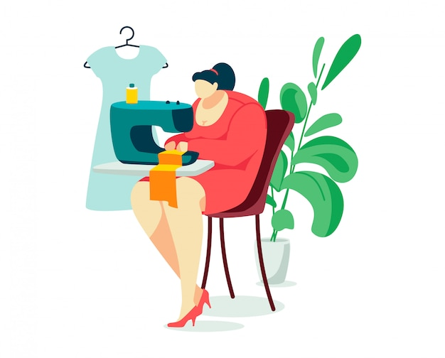 Woman character sew, person hobby sitting sewing machine and home plants pot isolated on white, cartoon illustration.