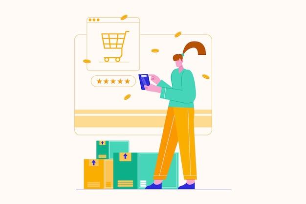 온라인 일러스트레이션을 통해 쇼핑하는 여자 캐릭터