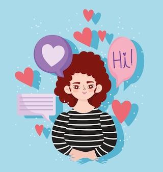 Женский персонаж, речевой пузырь, сообщение, сердца, любовь, романтический портрет, мультфильм